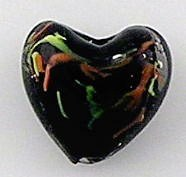 5 Lamwork glass 20mm Puff Heart beads  Black