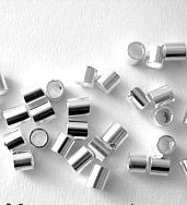 500 Silver plated 2x2mm Tube crimp beads