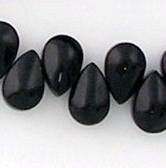 60 Crystal glass Teardrop beads 9x6mm  Jet